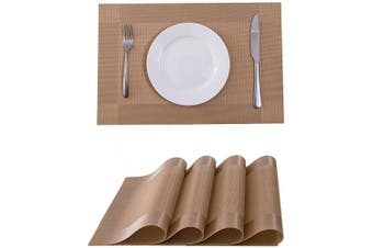 (4, Gold) - SUNSHINE FASHION Placemats,Placemats for Dining Table,Heat-Resistant Placemats, Stain Resistant Washable PVC Table Mats,Kitchen Table mats