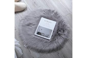 (0.6m x 0.6m (60*60cm), Gray) - HLZHOU Faux Sheepskin Rug Soft Fluffy Chair Cover Seat Pad Home Decoration Area Rugs for Bedroom Sofa Floor (0.6m x 0.6m (60x60cm), Grey)