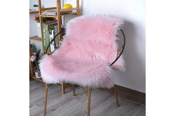 (0.6m x 0.9m (60*90cm), Pink) - HLZHOU Pink Faux Fur Rug Soft Fluffy Chair Cover Seat Pad Area Rugs for Bedroom Living Room Nursery (2 x 3 Feet (60 x 90 cm) Pink)