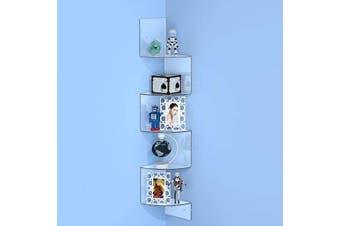 (Clear) - FEMELI 5 Tier Floating Corner Shelf Wall Mount for Bedroom Bathroom Living Room,Zig Zag Display Shelf(Clear,Acrylic)