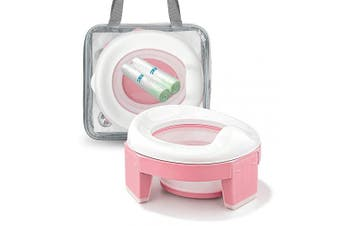 (Pink) - MCGMITT Portable Potty Seat for Kids Travel - Foldable Training Toilet Chair for Toddler Girls with Storage Bags (Pink)