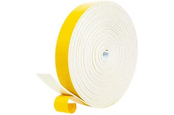 """(1"""" W X 1/16"""" T) - fowong Foam Tape White - 1 Roll, 2.5cm Wide X 0.2cm Thick, Window Seal Door Insulation Weather Stripping Closed Cell High Density Adhesive Foam Sealing Tape, Total 9.8m"""