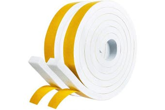 """(3/4"""" W x 3/8"""" T) - White Foam Seal Tape - 2 Rolls, 1.9cm Wide X 1cm Thick, Window Insulation Air Conditioner Weather Stripping Closed Cell Adhesive Foam Padding Tape, 2m X 2 Rolls, Total 4m"""