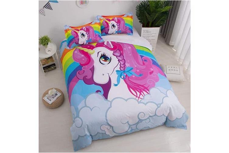 (Full(No Comforter), E) - WINLIFE Unicorn Bedding Rainbow for Girls Teens Bedding Unicorn Duvet Cover (Full, E)