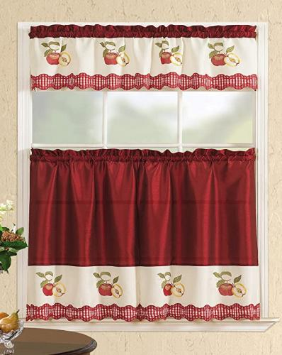 Picture of: Straight Valance Red Apples All American Collection Modern Contemporary 3pc Embroidered Home Kitchen Window Treatment Curtain Set Straight Valance Red Apples Matt Blatt