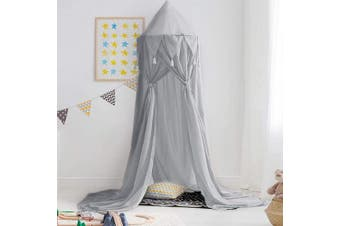(Chiffon-grey) - Didihou Bed Canopy for Girls Mosquito Net Princess Bed Canopy Hanging Play Tent Bed Netting for Kids Playing Reading Corner for Baby Boys and Girls (Chiffon-Grey)