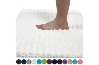 (80cm  x 50cm , Bright White) - Yimobra Original Luxury Chenille Bath Mat, Soft Shaggy and Comfortable, Large Size, Super Absorbent and Thick, Non-Slip, Machine Washable, Perfect for Bathroom (80cm X 50cm , Bright White)