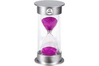 (45 min, A-Purple) - Hourglass Timer 45 Minute Sand Timer, Small Sand Clock 45 minutes, Purple Sand Watch 45 Min, Silver Plastic Hour Glass Sandglass Timer for Kids, Games, Classroom, Kitchen, Decorative