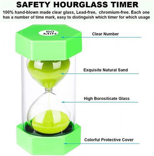 15 Minutes Sandglass Children Hourglass Sand Clock Timer Timing Tool Green