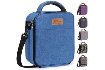 HOMESPON Reusable Lunch Bag Insulated Lunch Box Bento Cooler Tote with Front Pocket and Removable Adjuatable Shoulder Strap For Woman/Man/School/Office (Blue)