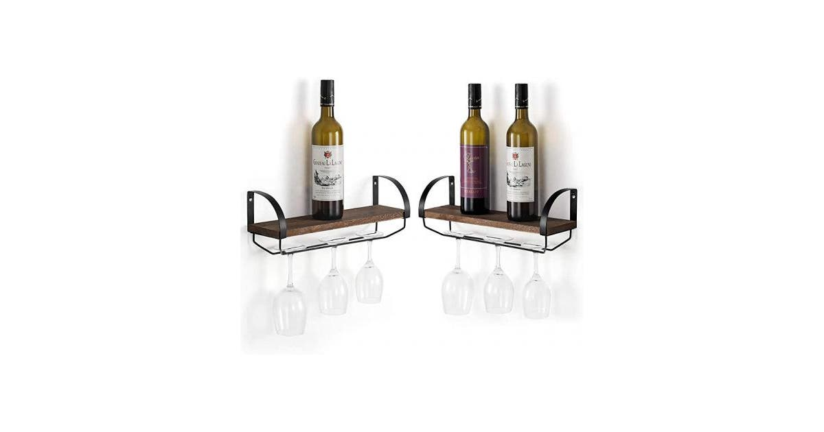 shoptheglobe wall mounted wine racks set of 2 with stemware glass rack industrial farmhouse floating shelf wine glass holder for red white champagne 61 au