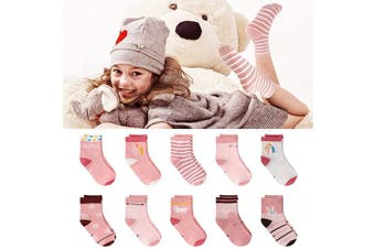 (L (UK size 7-10)) - 10 Pairs Girls Socks Baby Toddler Kids Children Socks Cotton School Rabbit Socks (Size 1-13 for 1-12 Years Girls)