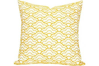 (46cm  x 46cm , Yellow Ice Cream) - SLOW COW Cotton Embroidery Decorative Throw Pillow Cover for Couch Sofa Geometric Accent Pillow Cover Cushion Cover 46cm x 46cm Yellow