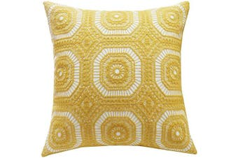 (46cm  x 46cm , Yellow Circle Kaleidoscope) - SLOW COW Cotton Embroidery Decorative Throw Pillow Cover Kaleidoscope Design Accent Pillow Cushion Cover for Sofa Couch 46cm x 46cm Yellow