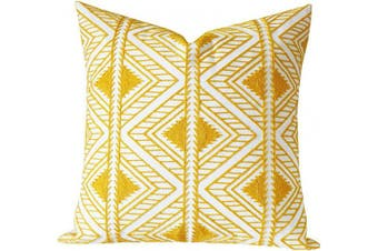 (46cm  x 46cm , Yellow Big Triangle) - SLOW COW Cotton Embroidery Decorative Throw Pillow Cover Geometric Design Cushion Cover for Living Room 46cm x 46cm Yellow