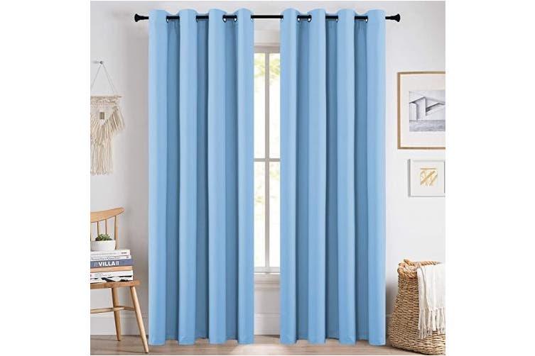 52x84 Light Blue Keqiaosuocai 210cm Light Blue Boys Blackout Curtains For Girls Room 2 Panels Grommet