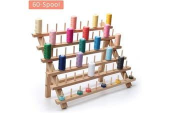Ahier Thread Holders for Spools of Thread,Sand Mine Wooden Thread Rack, 60 Cone Thread Organiser for Sewing, Quilting, Embroidery, Hair-braiding