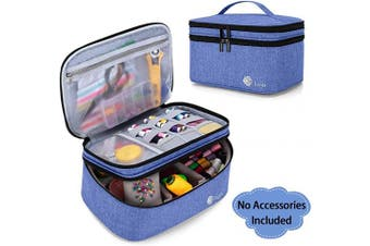 (Large, Dark Blue) - Luxja Double-Layer Sewing Accessories Organiser, Sewing Supplies Organiser for Needles, Thread, Scissors, Measuring Tape and Other Sewing Tools, Large/Dark Blue