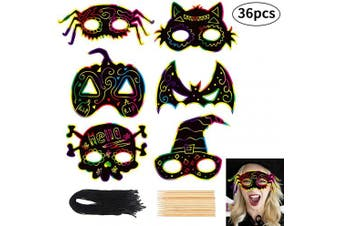 CCINEE 36pcs Halloween Scratch Paper with Cat Pumpkin Bat Spider Design Scratch Masks Elastic Cords and Wood Stylus for Halloween Costume Dress up Party Decorations
