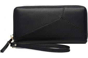 KOWENTIK Women Wallet Leather Zip Phone Clutch Large Travel Organiser Zipper Coin Purse Wristlet (Wallet Type4-Black)