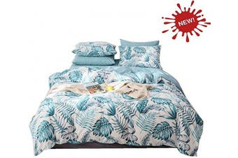 (Full/Queen, Green) - Palm Duvet Cover Queen,100-percent Cotton Botanical Palm 3pc Bedding Set,Blue Tropical Plant and Banana Leaves Pattern Printed with Zipper Closure 4 Corner Ties,Lightweight,Soft Breathable(Palm,Queen)