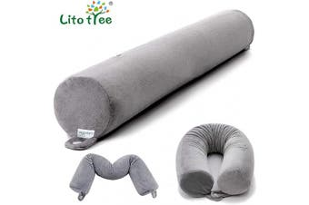 (Grey) - Travel Neck Pillow - 100% Memory Foam Pillow - 60cm x 10cm Neck Support - Resilient and Firm - Bendable Plastic Spine Core - Lightweight and Portable for Neck Chin Shoulders Back and Knee (Grey)