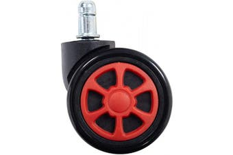 (Wheel-red) - HEALGEN Gaming Chair Caster Wheels Replacement Heavy Duty Caster Wheels Floor Protecting Smooth Rolling Computer Gaming Chair Universal Fit