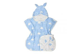 (Blue) - Soft Hooded Kids Bath Towel, Cloak Cotton Bathrobe for Boys and Girls,Pool Beach Towels for Childrens-Blue