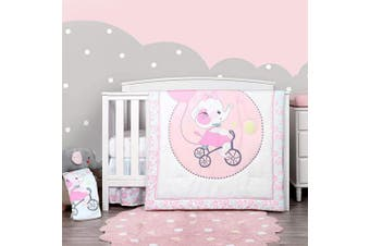 (4 Pieces, Pink Elephant) - TILLYOU Luxury 4 Pieces Elephant Crib Bedding Set (Embroidered Comforter, Crib Sheets, Crib Skirt) - Microfiber Printed Nursery Bedding Set for Girls