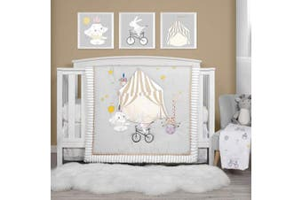 (4 Pieces, Party) - TILLYOU Luxury 4 Pieces Embroidered Crib Bedding Set (Comforter, Crib Sheets, Crib Skirt) - Party & Playground Theme Printed Nursery Bedding Set for Boys Girls, Grey & White