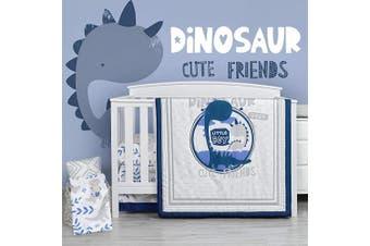 (4 Pieces, Dinosaur) - TILLYOU Luxury 4 Pieces Dinosaur Crib Bedding Set (Embroidered Comforter, Crib Sheets, Crib Skirt) - Microfiber Printed Nursery Bedding Set for Boys Girls