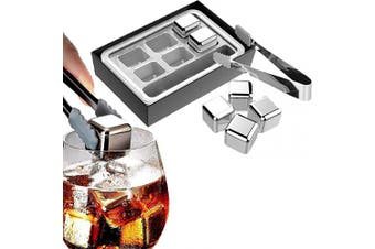 Whiskey Stones Gift Set,Reusable Stainless Steel Ice Cubes,Metal Whisky Chilling Rocks with Ice Tongs and Freezer Storage Tray for Whiskey, Wine,Cocktails Bourbonor any Drinks(Silver, 6)