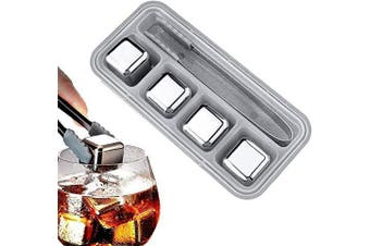 Whiskey Stones,Reusable Stainless Steel Ice Cubes,Metal Whisky Chilling Rocks with Ice Tongs and Freezer Storage Tray for Whiskey, Wine,Cocktails Bourbonor any Drinks(Silver, 4)