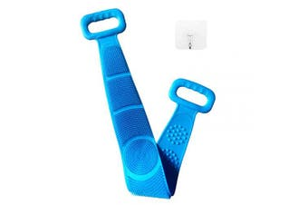 TEMEAYE Silicone Back Scrubber for Shower, Long Double-Sided Structure, Handle Body Washer,Deeply Cleans the Skin, Exfoliates & Massages the Body to . , With a Wall Hook, BLUE