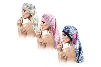 3 Pieces Satin Sleep Cap for Long Braids Hair, Silk Long Satin Bonnet Sleep Cap, Soft Elastic Band Loose Cap Bonnets for Women Dreadlocks, Braid Long Hair, Curly Hair (Pink Leaf Pattern)