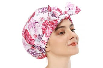 Shower Cap for Long Hair, Luxury Shower Caps for Women Bath Cap Turban Shower Caps Waterproof Bath Cap Extra Large Reusable Shower Cap for Hair (Red Flowers)