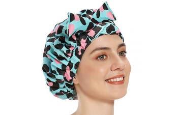 Shower Cap for Women, Shower Caps for Long Hair Bath Cap Turban Shower Caps Waterproof Bath Cap Cute Extra Large Reusable Shower Cap (Leopard)
