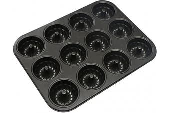 Webake Mini Fluted Tube Cake Pan, Non-Stick 7.1cm Cake Baking Pan, Heavy Gauge Carbon Steel (12-Cavity)