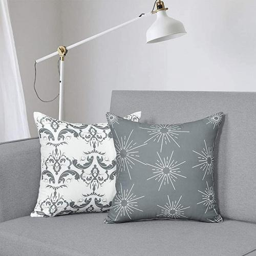 (46cm  x 46cm , Gray Pillow2) - Fascidorm Set of 2 Grey Decorative Pillows with Inserts Modern Throw Pillows Cushion Pillows for Indoor Outdoor Home Decoration 46cm x 46cm Size: 46cm  x 46cm Colour: Gray Pillow2