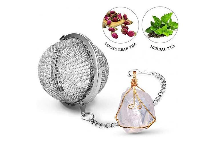 Taygate Tea Strainers for Loose Tea Fine Mesh Tea Ball Full Wire Wrap Raw Stone Pendant Natural Healing Chakra Crystals Gifts for Women (Clear)