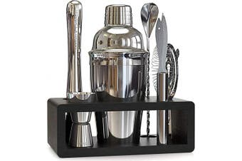 Highball & Chaser Elite Bartender Kit with Stylish Bamboo Stand - Stainless Steel Cocktail Shaker Set with Rustproof Bar Tools. Perfect Bar Set for Home Bars, Parties and Drink Making (Silver)