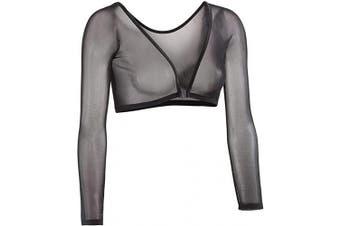 (1X, Black) - Sleevey Wonders Women's Basic 3/4 Length Slip-on Mesh Sleeves