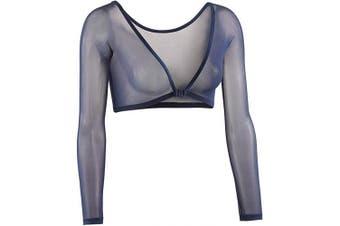 (Small, Navy) - Sleevey Wonders Women's Basic 3/4 Length Slip-on Mesh Sleeves