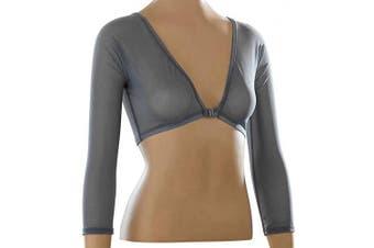 (Small, Gray) - Sleevey Wonders Women's Basic 3/4 Length Slip-on Mesh Sleeves