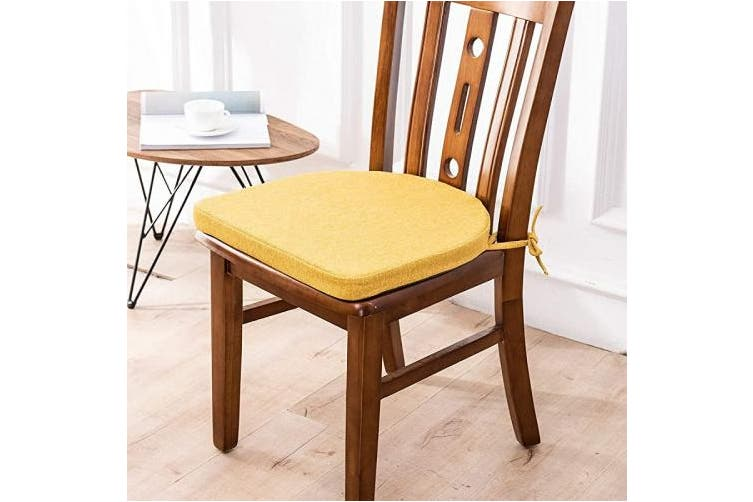 Shinnwa Chair Cushion With Ties For Dining Chairs 43cm X 42cm Non Slip Kitchen Dining Chair Pad And Seat Cushion With Machine Washable Cover Yellow Matt Blatt