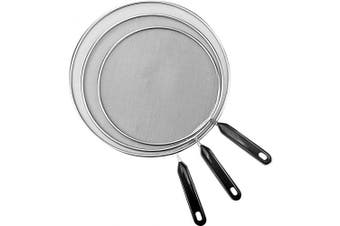 (Black) - 3 Pieces Grease Splatter Screen Mesh, 25cm , 29cm and 33cm , Stainless Steel Pan Splatter Guard Grease Guard Shield for Kitchen Frying Pan Cooking Supplies (Black)