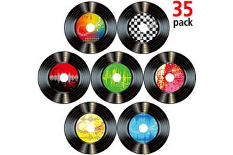 Boao 35 Pieces 18cm 1950's Rock and Roll Music Party Decorations Records Wall Decor Signs for 50's Theme Party Supplies Music Party Favours (Record Wall Decor)