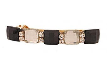 Caravan Auto Barrette Jewelled With Five (5) Squares Of Jet (black) And Crystal (clear) Plus Rhinestone