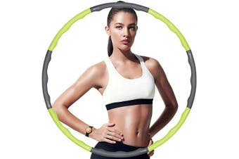 (green+grey hula hoop 3 waves) - CAMORF Weighted Hula Hoop for Adults,Soft EVA Foam Padded hula hoops for fitness - Detachable 8 Section 95cm hula hoop for Kids,Gift for Lose Weight Exercise Fat Burning Dance- Waist Ruler