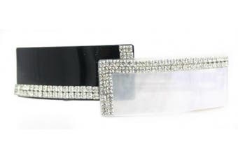 Caravan Master Piece Of Two (2) Pearl Colours Combination Adorned With 96 Rhinestones Stone Barrette